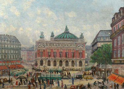Leopold ULIVI (1884-1967) Autobus et passants, place de l'Opéra, Paris Huile sur...