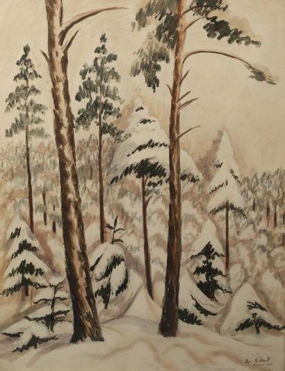 Ben SILBERT (1893-1940) Les sapins enneigés Aquarelle. Signée en bas à droite, située...