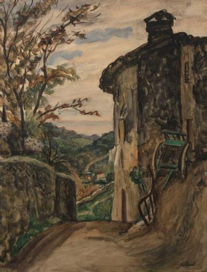Ben SILBERT (1893-1940) La charrette dans une rue du village Aquarelle. Signée en...