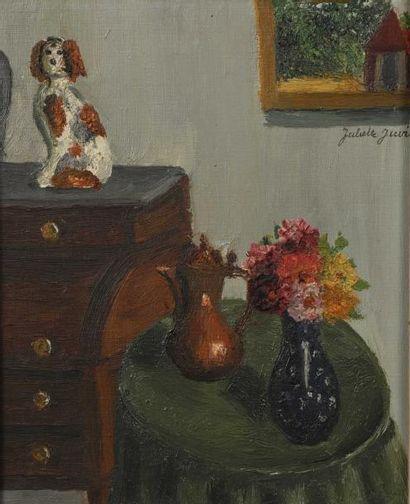 Juliette JUVIN (1896-?) Petit chien assis sur un bureau à cylindre Louis XVI Huile...