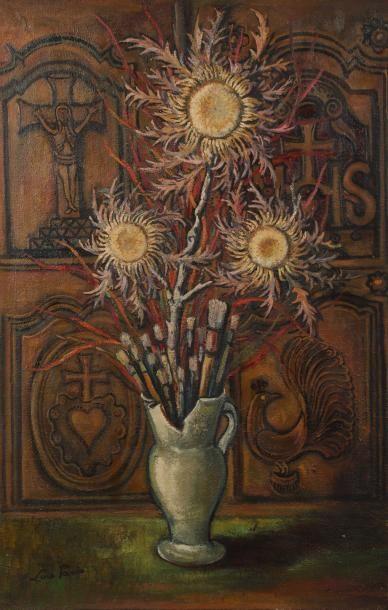 Luce PARIS (XXème siècle) Le pot de pinceaux Huile sur toile. Signée en bas à gauche....