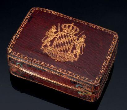 Ecrin de tabatière en cuir rouge. XVIIIème...