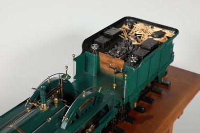 Maquette, à l'échelle 1/10, d'une locomotive et tender 'Crampton' comme manufacturée...
