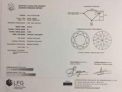 """""""Bague solitaire en platine (950•/00) sertie griffes d'un diamant rond taille en..."""