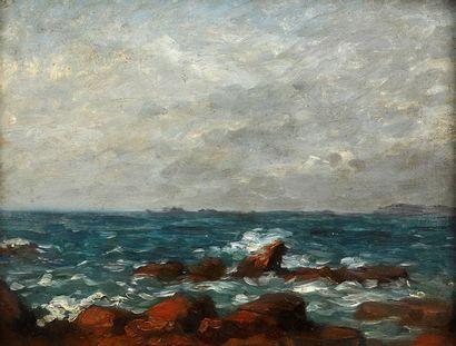 Attribué à ou entourage de Roderic O'CONOR (1860-1940)  Bord de mer  Huile sur panneau....