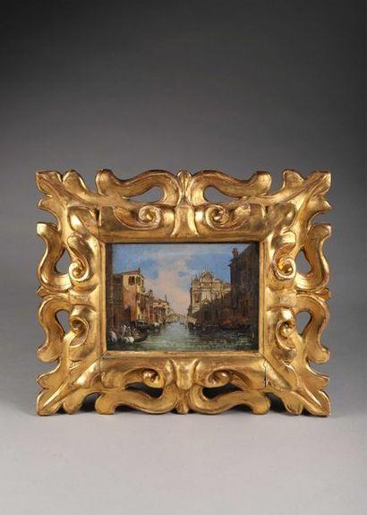 ECOLE ITALIENNE Seconde Moitié du XIXe siècle Vue de canal à Venise à hauteur de...