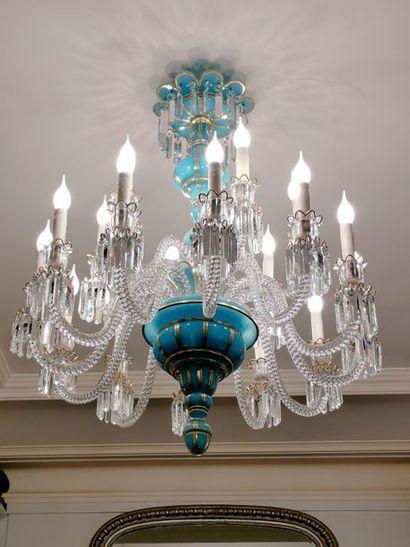 Important lustre en opaline turquoise et...