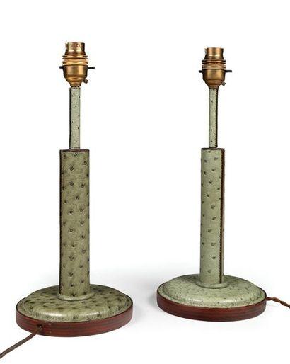 Paire de petites lampes de chevet gainées...