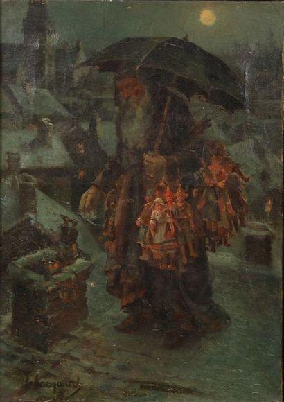 Timothée HACQUART (1862-?) Le dur labeur du père Noël sur les toits, distribuant...
