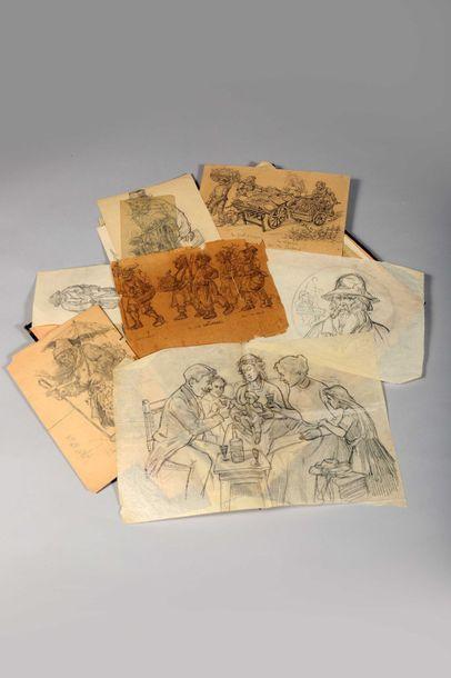 Timothée HACQUART (1862-?) Ensemble de dessins au crayon sur papier ou dessins d'étude...