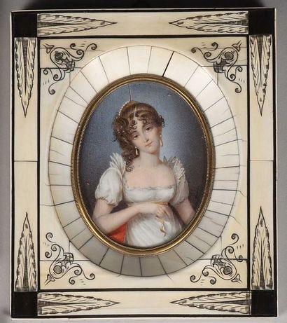 Miniature sur ivoire d'après Guérin. Elégante...