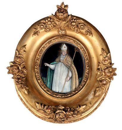 Plaque d'émail du XVIIème siècle peinte à...