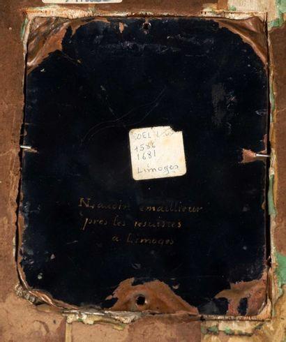 Plaque d'émail du XVIIème siècle peinte à vue ovale légèrement bombée par NAUDIN,...