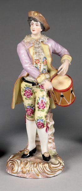 Groupe en porcelaine allemande polychrome....