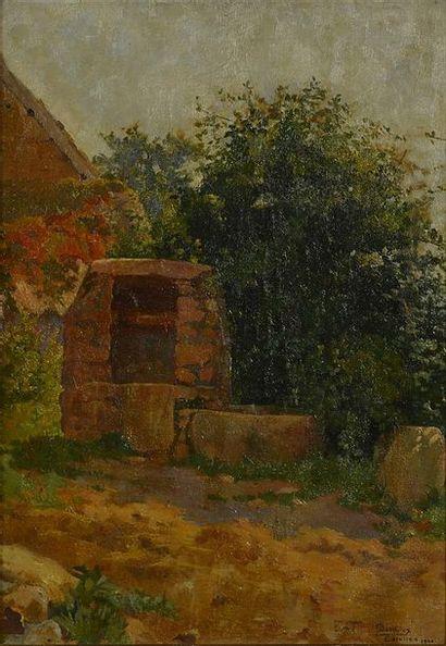 Emile BAUDOUX (1850-1929). Le puits à Carolles, Normandie, 1900 Huile sur carton,...