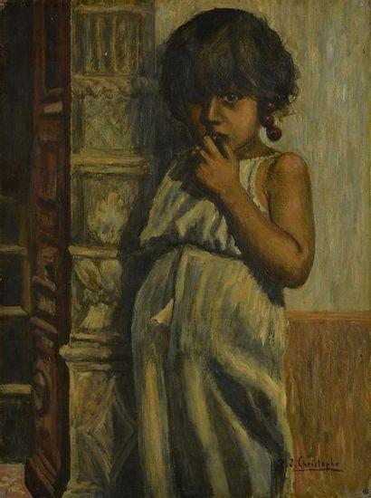 Ecole orientaliste, P.J. Christophe (XXème siècle). Jeune fille aux cerises Huile...