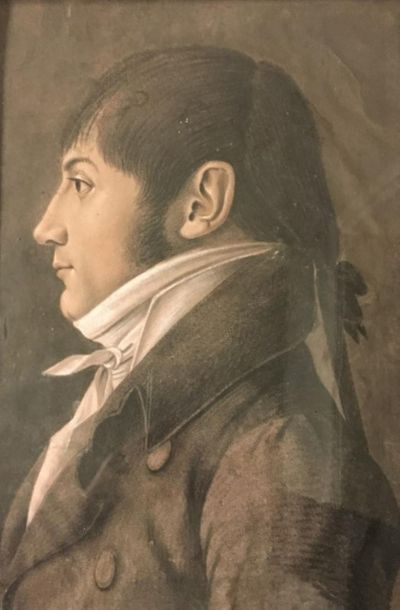 Ecole française vers 1800. Portrait d'homme de profil au catogan Dessin à la pierre...