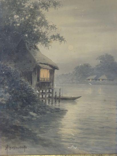 """YOSHIMOTO (?) Japan Watercolor on paper (wormholes) 43 x 31 cm """