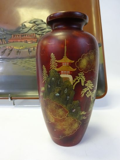 """""""[X] SET OF TWO JAPANESE OBJECTS Japan Comprising a small red lacquered vase with..."""