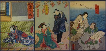 """SET OF THREE (3) ESTAMPS AFTER TOYOKUNI III AND KUNISADA Three oban tate-e (small..."