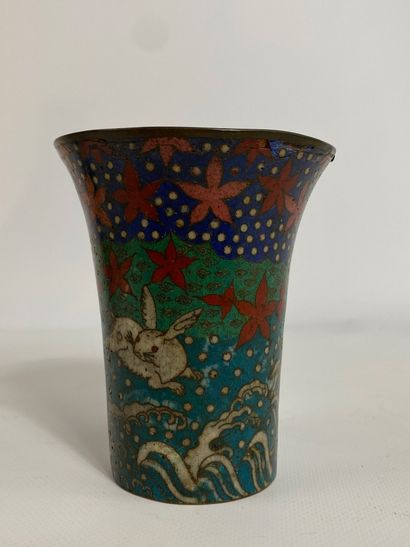 """""""LITTLE ALLOY CORNER VASE WITH WAVY RABBITS AND WAVY WAVES (enamel jumps) H: 12..."""