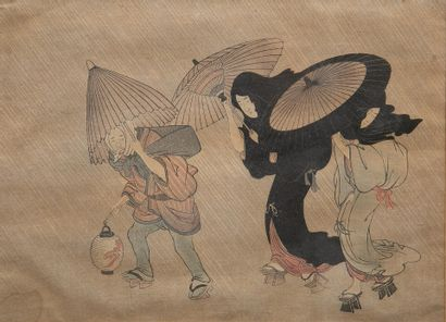 """According to KITAGAWA UTAMARO (c.1753-1806) Night scene with two geishas and a..."