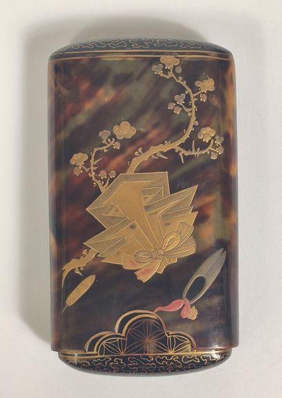 """TURTLE SHEET CIGARET TINK BOX Japan - Meiji (1868 - 1912) Cigarette box in tortoiseshell..."