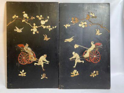 """[X] PAIR OF WOODEN PANELS SHIBAYAMA TYPE Japan Quadrangular and portrait oriented,..."