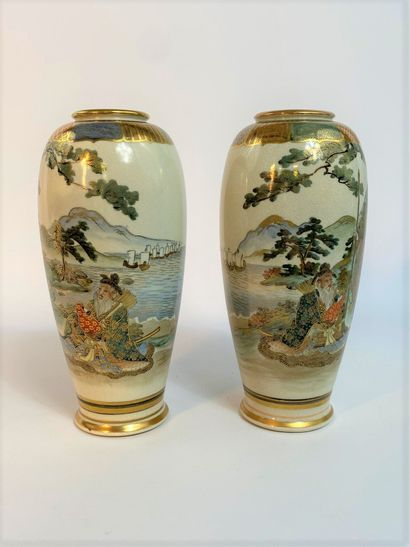 """""""PAIR OF OVOID VESSELS WITH POLYCHROME SATSUMA AND GOLD Japan, Satsuma Ovens, Mid..."""
