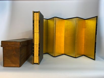 """""""A SET OF TWO (2) SIX GOLDEN SHEET FACINGS, BYOBU Japan With wood core and golden..."""