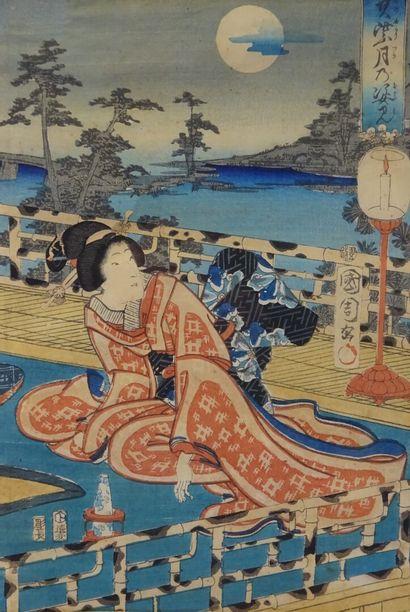 """TOYOHARA KUNICHIKA (1835-1900) Oban tate-e, part of a triptych, Geisha on a terrace..."