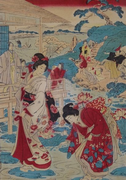 """""""SET OF FOUR (4) ESTAMPS ON CREPON PAPER Japan Representing young women and men..."""