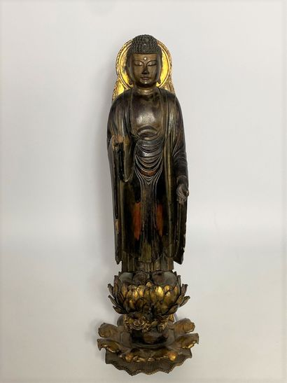 """""""BOUDDHA IN POLYCHROME WOOD Japan, XVIIIth Amida Noyrai in lacquered wood with a..."""