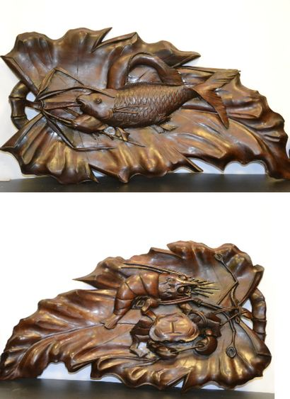 """""""SET OF TWO (2) WOOD SCULPT WOOD PANELS Japan One decorated with carp and eel. The..."""