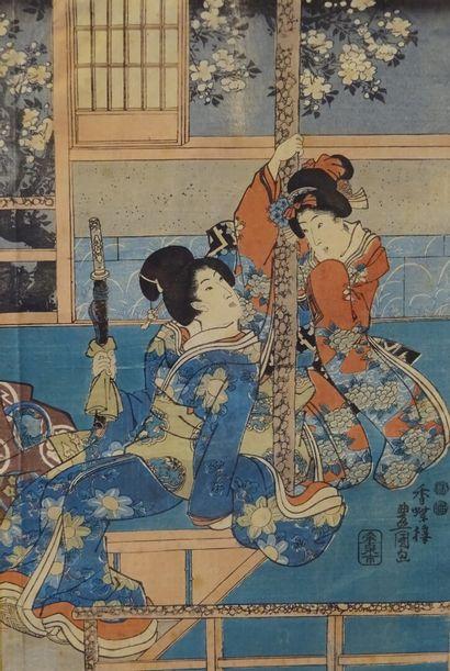 """UTAGAWA TOYOKUNI III (1785-1865) Oban tate-e part of triptych, two geishas, one..."