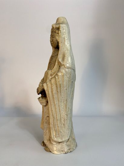 """""""Enameled baked earthenware subject cracked in the image of KANNON Japan She's standing..."""