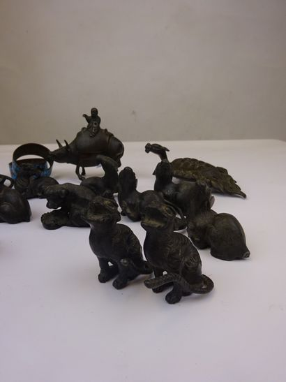 """""""SET OF SEIZE (16) OKIMONO IN BRONZE WITH BROWN SKATE Japan, Late 19th century Representing..."""