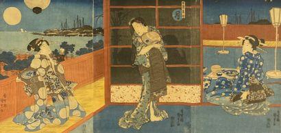 D'après UTAGAWA KUNISADA Trois élégantes...