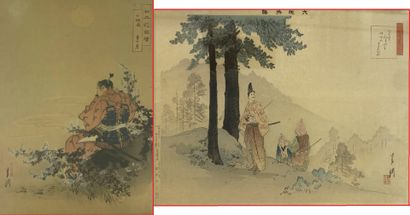 Ogata GEKKO (1859-1920) Deux estampes représentant...