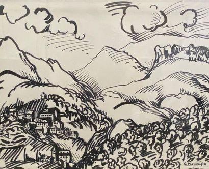 G. MONVOISIN Vue d'un village Encre 32 x...