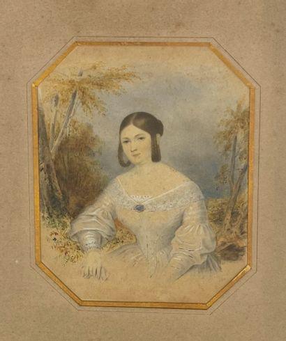 Ecole Française du XIXe (?) Portrait d'une...