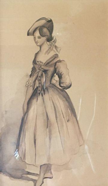 Paul GAVARNI (1804-1866). Portrait de femme...