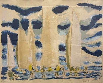 André BRASILIER (1929-). Les Voiliers, bord...