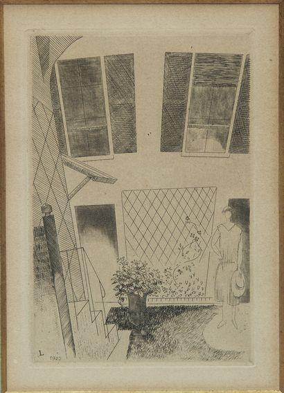 Jean-Emile LABOUREUR (1877-1943). Cour d'immeuble...