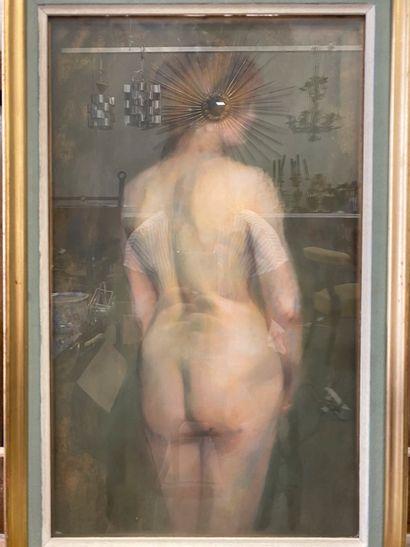 Anonyme Nu féminin représenté de dos Pastel...
