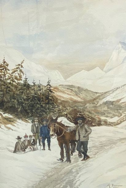 DAMIERE La halte à cheval sous la neige Aquarelle...