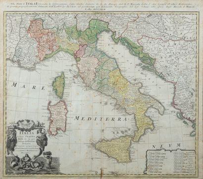 Carte géographique Italie au XVIIIème 52x60...