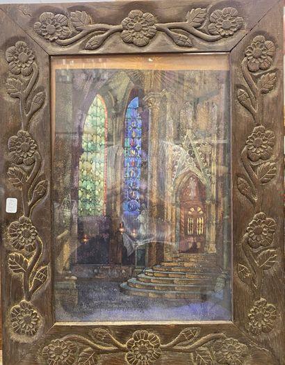 P. DUMENIL (?) Vue de l'intérieur d'une église...