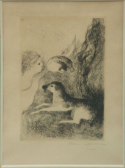 Marie LAURENCIN (1883-1956). Femme et chiens...