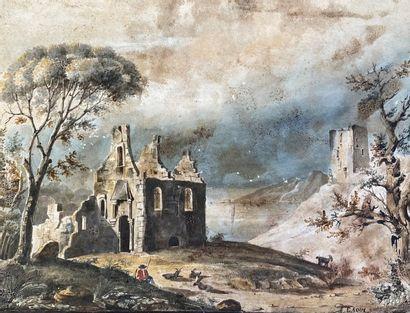 E. ROUX Paysage en ruine Aquarelle (tâches,...